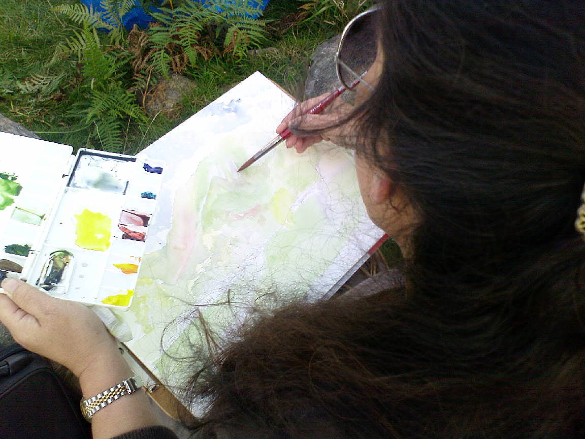 Watercolour painting in the lakes