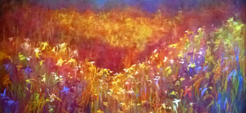 Spring Meadows, Pastel & Mixed Media, 65 x 65 cm, Copyright @2014 Midge (Demo)