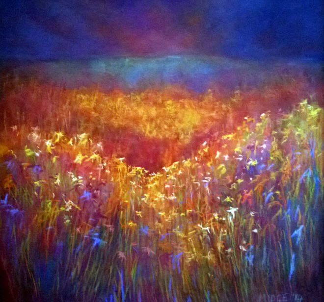 Spring Meadows, Pastel & Mixed Media, 65 x 65 cm, Copyright @2014 Midge