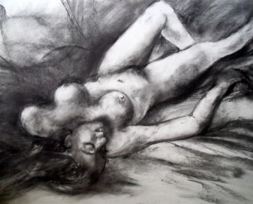 Female Nude (Life Drawing), Charcoal on pastel board, 60 x 40 cm, Copyright @2014 Midge