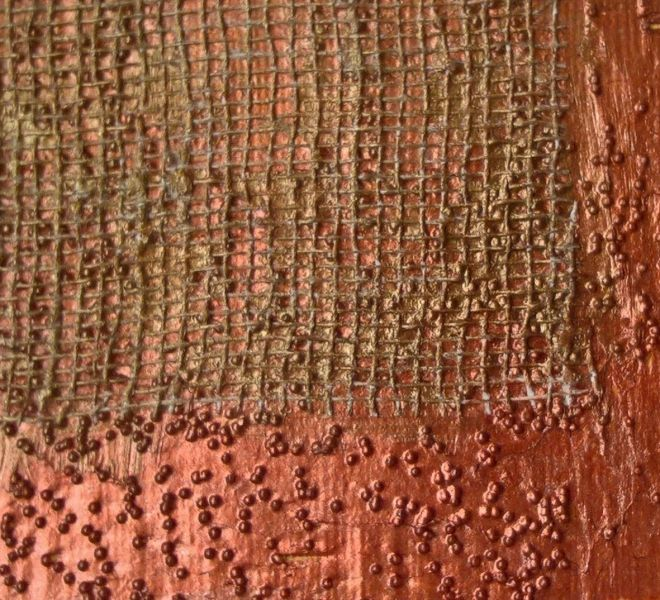 Copper, Glass Bead Gel & Collaged Netting
